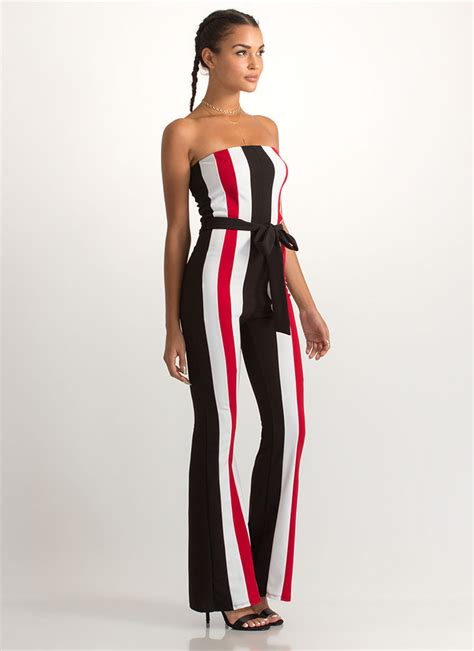 get in line strapless striped jumpsuit black gojane