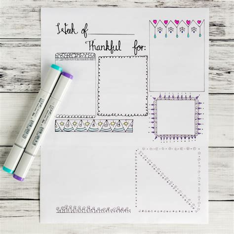 printable book journal pages free printable gratitude journal page with doodle frames