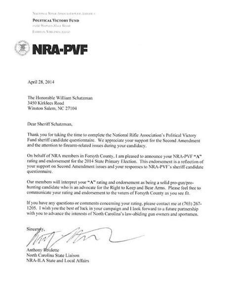 Nra Fundraising Letter Grnc Alert 5 2 14 Nra S Own Alert Proves Schatzman Is Anti