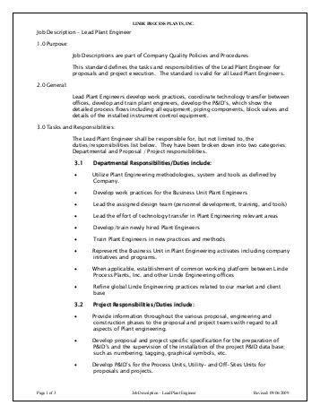 job description chemical process engineer position number