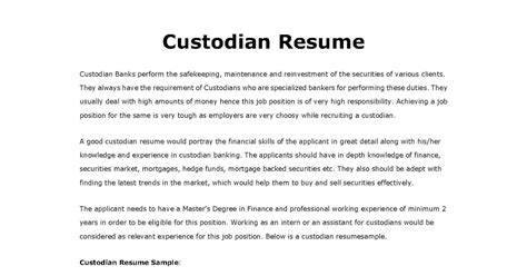Custodian Resume by Resume Sles Custodian Resume