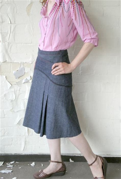 pleated denim skirt sewing projects burdastyle