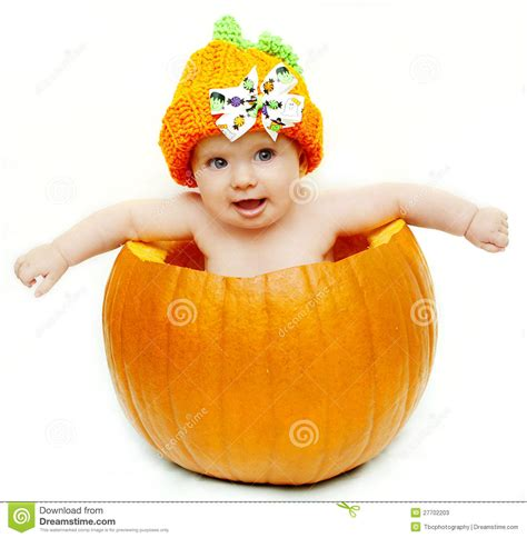 Pumpkin Halloween Costume Baby - baby in pumpkin stock photos image 27702203