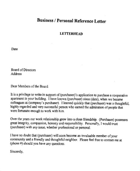Reference Letter For Apartment Purchase 7 Business Reference Letter Templates Free Sle