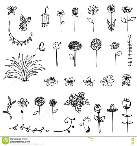 free doodle eps free drawing sketch flower doodle stock vector