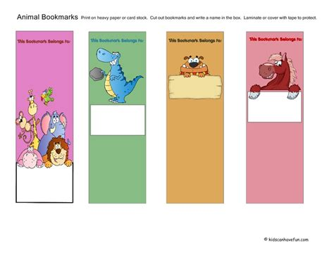 printable bookmarks with names 17 best images about reading activities for kids on