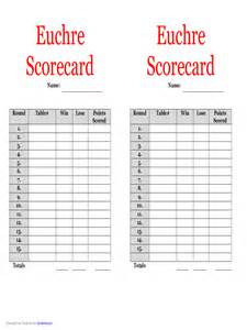 euchre score cards template 5 free templates in pdf