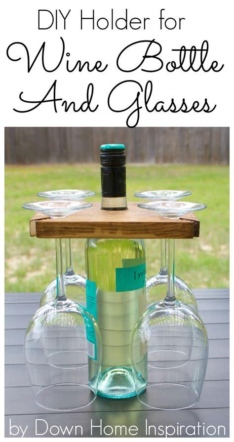 wine bottle l diy how to make a diy holder for a wine bottle and glasses