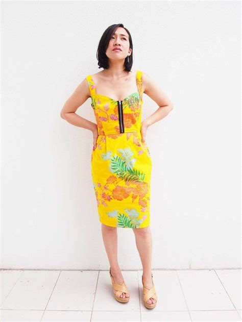 dress pattern front zipper tropical front zipper dress sewing projects burdastyle com