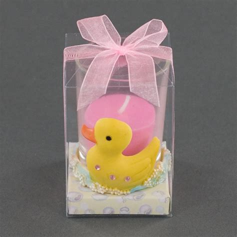 baby shower candle favors yellow duckie votive holder with pink candle baby shower