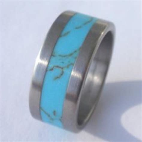 Wedding Rings With Turquoise by Wedding Ring Titanium Ring Inlaid With Turquoise