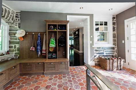 Mudroom, French tile floor, built in white oak cabinets
