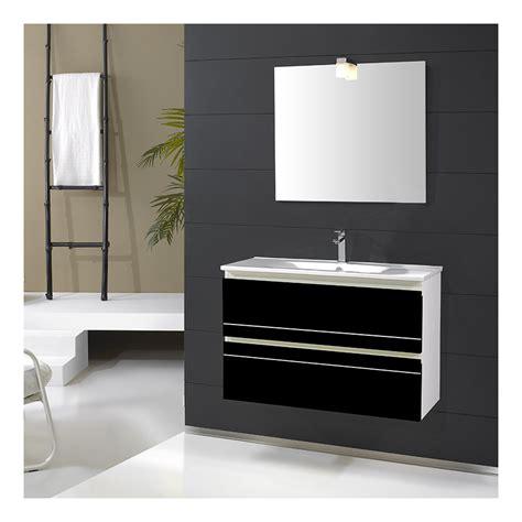 Meuble Blanc Et Noir by Meuble De Salle De Bain Simple Vasque 80 Cm Ritz Noir