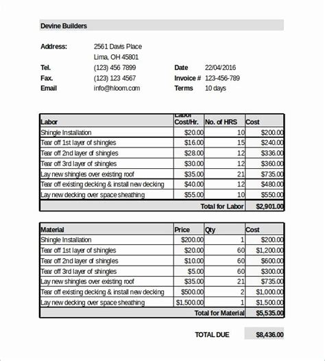 Garage Invoice Template And Daily Restaurant Pre Shift Meeting Sheet Garage Estimate Template Roofing Templates Free
