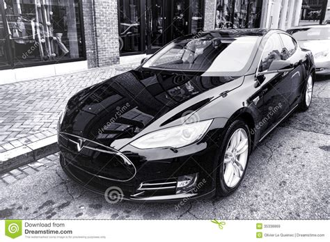 Tesla Powered Car Tesla Model S Battery Powered Electric Car Editorial Stock