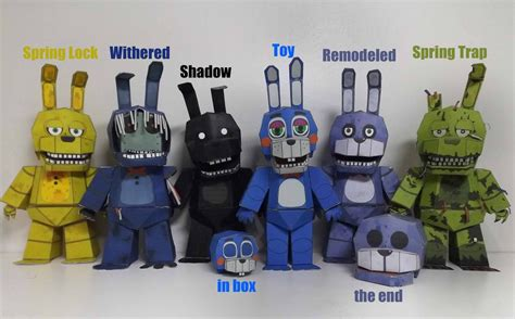 five nights at freddy s bonnie timeline papercraft by