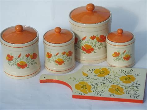 orange kitchen canisters retro orange poppies kitchen canisters set and breadboard