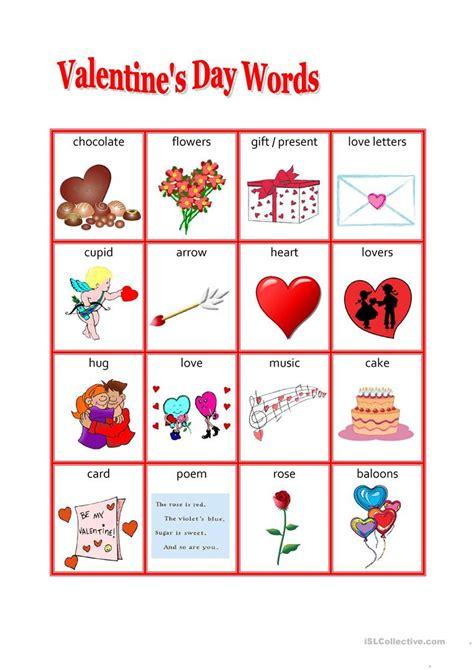 valentines day words s day words worksheet free esl printable