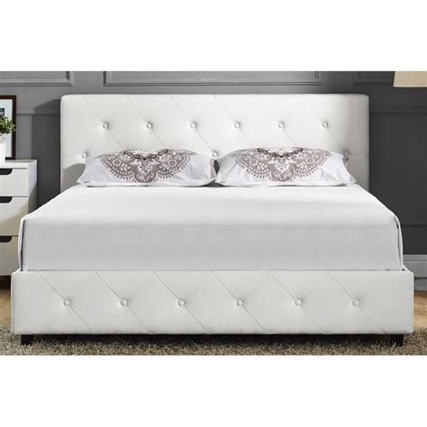 white upholstered queen bed upholstered faux leather queen bed in white 4027149