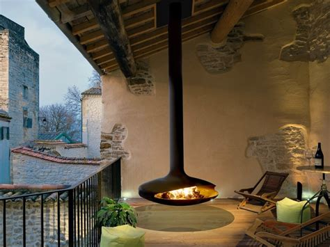 Outdoor Hanging Fireplace by Gyrofocus Outdoor Fireplace By Focus Creation