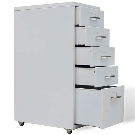 Steel Filing Cabinet Metal Filing Cabinet With 5 Drawers Grey Vidaxl Co Uk