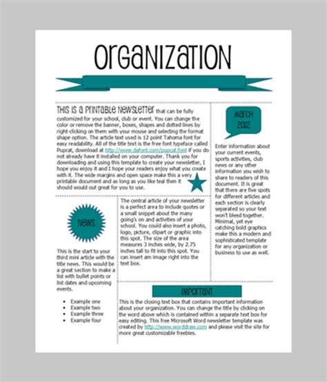 One Page Newsletter Template by Word Newsletter Template 31 Free Printable Microsoft