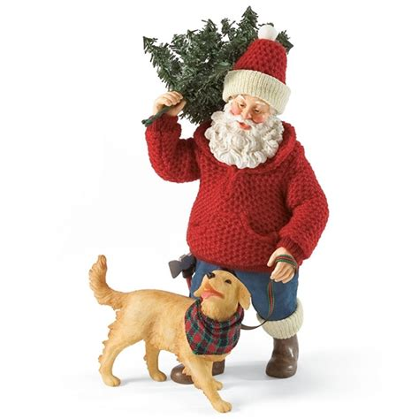 santa with dog possible dreams figurine 4026707