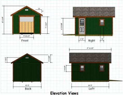 A Frame Cabin Designs 12x16 Gable Storage Shed Plans With Roll Up Shed Door