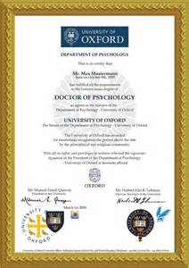 Doctorate Degree Certificate Template by Diploma Doctor Of Psychology College Oxford Harvard Yale