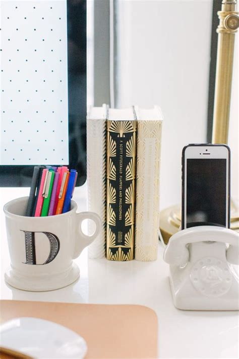 Anthropologie Desk Accessories Danielle Moss Of The Everygirl Office Space White Desk Gold L Anthropologie Mug