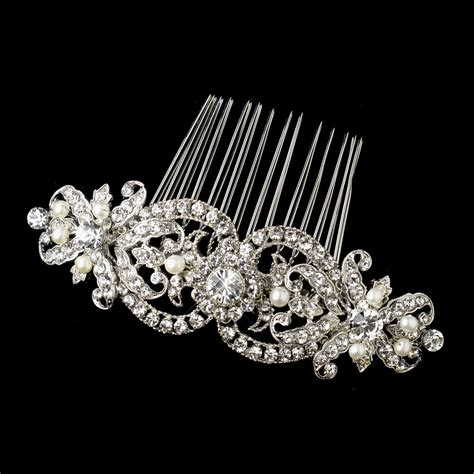 pearl and crystal hair comb antique silver rhodium clear rhinestone freshwater pearl