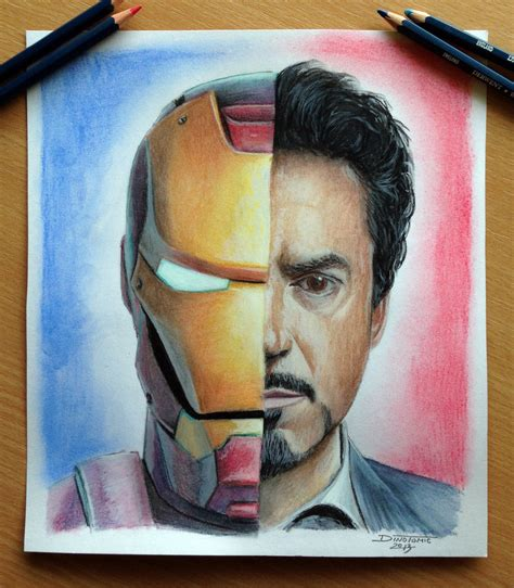 Iron Man Tony Stark Color Pencil Drawing By Atomiccircus Colored Drawings