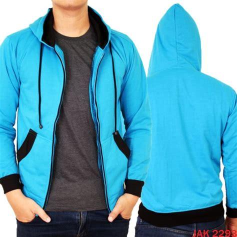 Jaket Hoodie Fleece jaket hoodie fleece pria fleece biru muda jak 2293