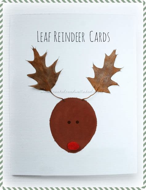 reindeer cards to make sun hats wellie boots leaf reindeer cards inspired by