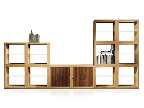 libreria thiene oak bookcase display cabinet teca by estel design
