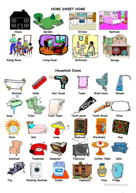 household items 12 free esl household items worksheets