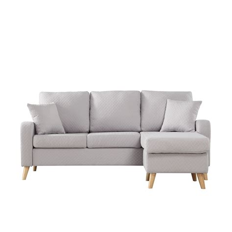 Gray Sectional Sofa With Chaise Modern Fabric Small Space Sectional Sofa With Reversible Chaise In Light Grey Ebay