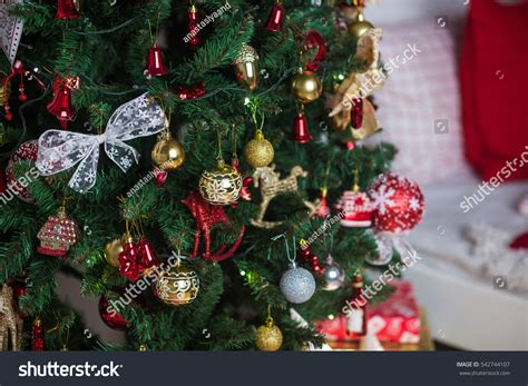 christmas decorations christmas tree gifts new stock photo