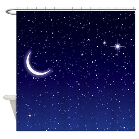 moon and stars curtains night sky with moon and stars shower curtain by