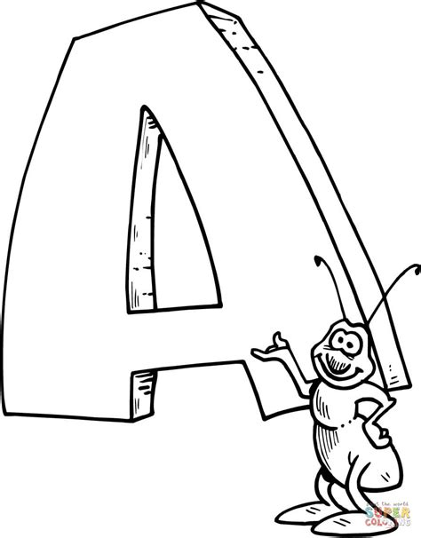 letter a is for ant coloring page free printable