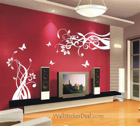 loved so much wall stickers lovely flower with butterfly wall sticker