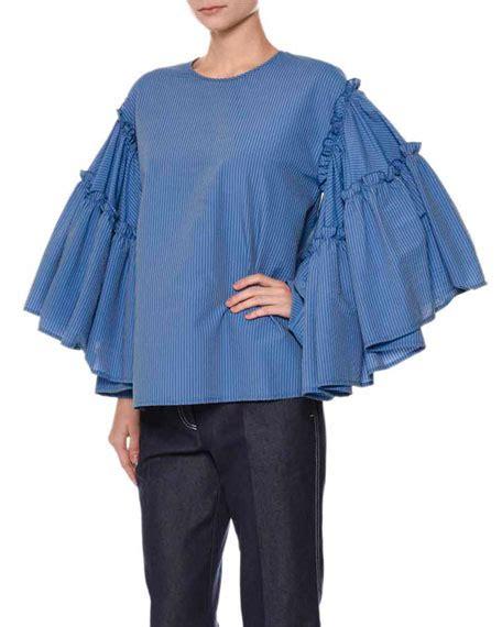 Blouse Atasan Blue Stripe Flowy Hv msgm striped flowy sleeve seersucker top blue neiman