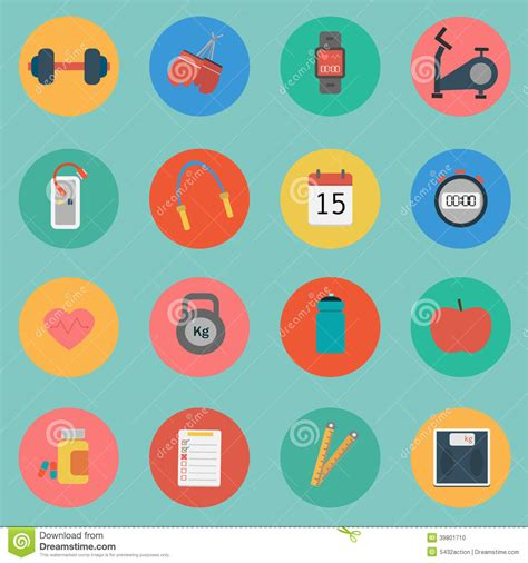 flat design icon vector vector of fitness icon set flat design stock vector