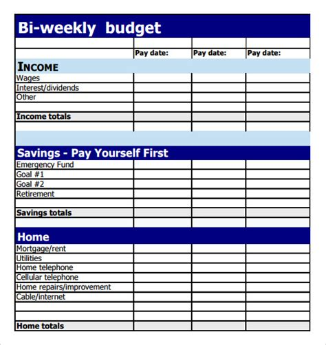 9 Sle Budget Templates Sle Templates Monthly Budget Based On Biweekly Pay Template