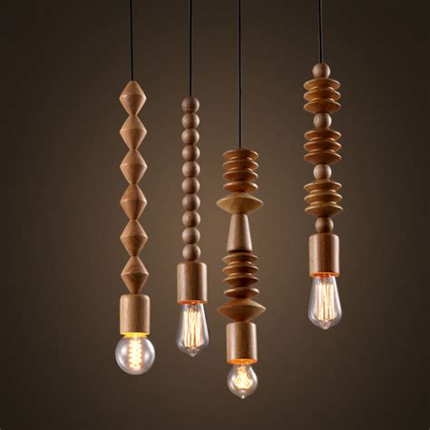 Hanging Bulb Chandelier Rustic Wood Bead Mini Single Light Exposed Edison Bulb Pendant Light Chandelier Ebay