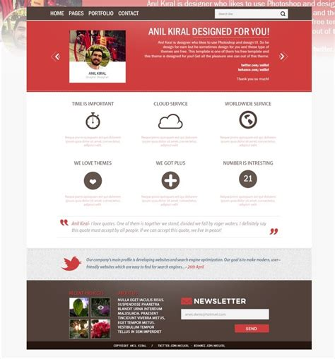 Free Red And White Business Website Template Psd Titanui White Website Templates