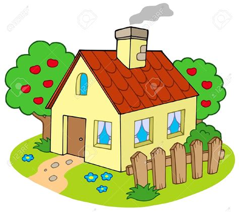 clipart home house with garden vector illustration house s