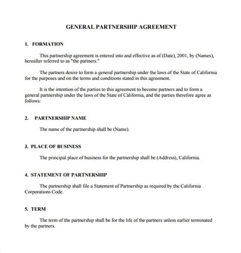12 Sle General Partnership Agreement Templates Sle Templates General Partnership Agreement Template