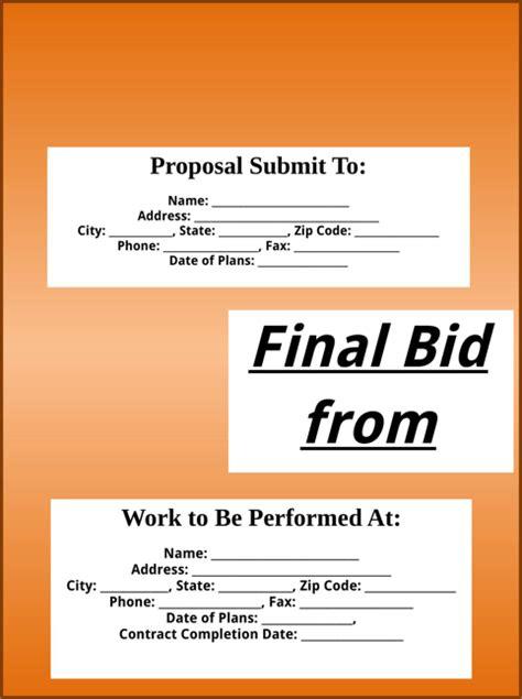 bid free bid template for free formtemplate