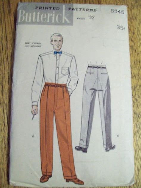 vintage pattern trousers uncut sewing pattern vintage 1950 s men s trousers pants